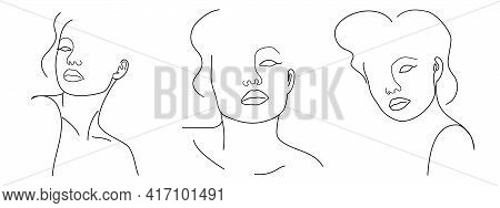 Three Trendy Fashion Contour Drawing Lineart Portraits Of Beautiful Girls . Abstract Face, Minimalis