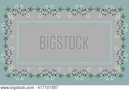 Embroidered Satin Stitch Tablecloth In Shades Of Green With Border Of Pink Carnations, Pine Branches