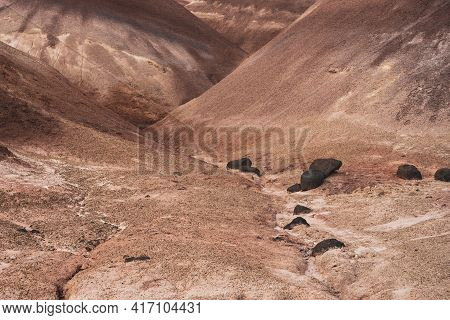 Slopes Of Bentonite Hills Criss Cross Each Other In Capitol Reef National Park