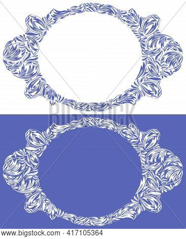 Round Shape Decorative Blank Classic Style Border Vector Vintage Design, Floral Frame Made Of Leaves