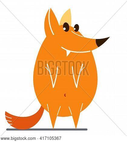 Funny Cartoon Fox Flat Vector Illustration Isolated On White, Wildlife Animal Humorous Drawing.