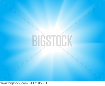 Sun Shining In The Sky Vector Abstract Summer Background.