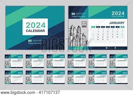 Calendar 2024 Template Vector, Set Desk Calendar 2024 Design, Happy New Year 2024, Wall Calendar Des