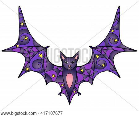Bat - Vector Linear Color Illustration. Halloween Illustration With Flying Fox Flying Up - Multicolo