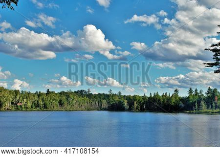 Landscape Background Of A Beautiful Forest Island In The Middle Of A Lake Upper Peninsula Michigan