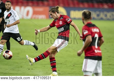 Rio, Brazil - April 15, 2021: Filipe Luís Player In Match Between Flamengo V Vasco By Carioca Champi