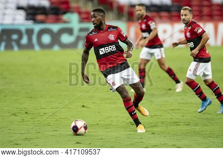 Rio, Brazil - April 15, 2021: Gerson Player In Match Between Flamengo V Vasco By Carioca Championshi