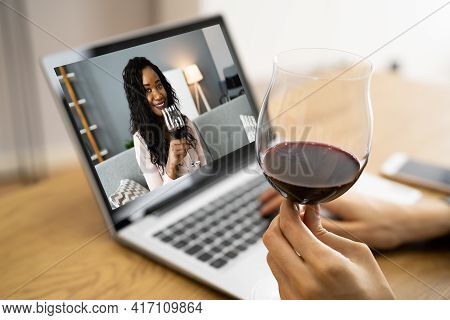 Online Virtual Wine Tasting Video Call With Friends