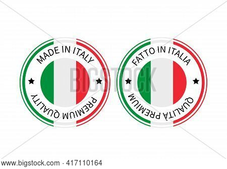 Made In Italy Round Labels In English And In Italian Languages. Quality Mark Vector Icon. Perfect Fo