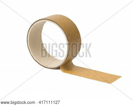 The Unwinding Coil Of The Packaging Tape Is Isolated On A White Background. Universal Packaging Tape