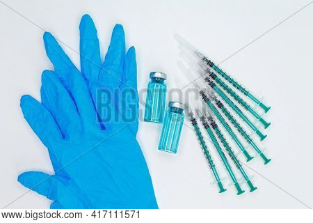 Diabetes Insulin Injection Syringe. Disposable Syringe And Injection Vial. Medical Syringe And Ampou
