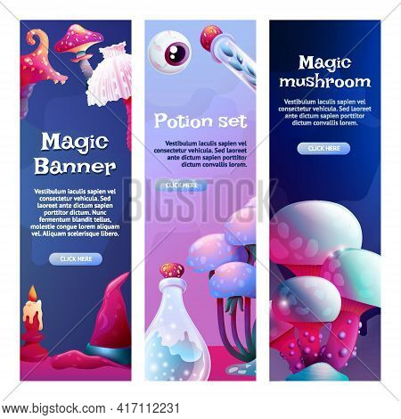 Set Of Vertical Banner Templates Colorful Fantasy Magic Mushrooms. Fungus And Unrealistic Uneartly S