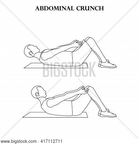 Abdominal Crunch Exercise Strength Workout Vector Illustration Outline