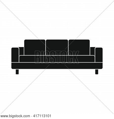 Vector Modern Sofa Black Simple Icon Isolated On White