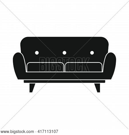 Vector Sofa For House Black Simple Icon Isolated On White