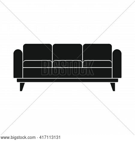 Vector Recreation Sofa Black Simple Icon Isolated On White