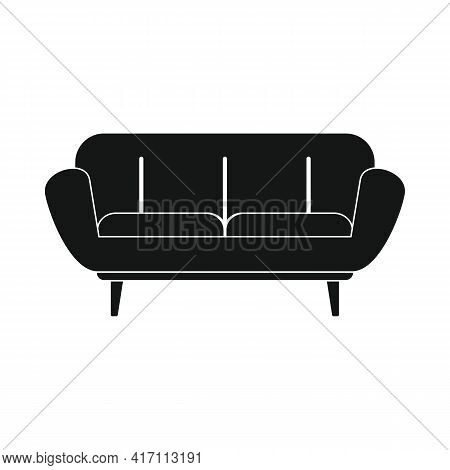 Vector Living Room Sofa Black Simple Icon Isolated On White