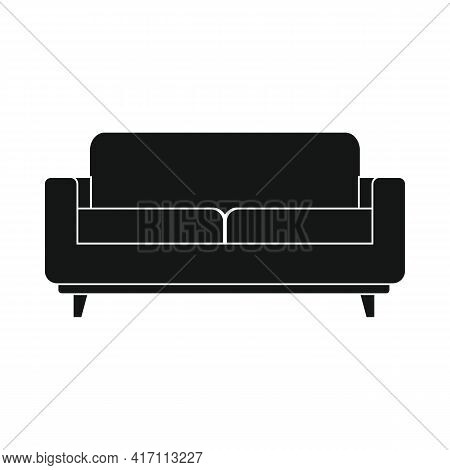 Vector Settee Sofa Black Simple Icon Isolated