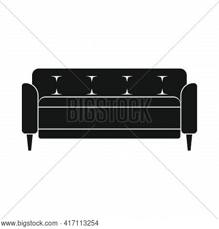 Vector Old Sofa Black Simple Icon Isolated