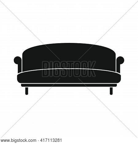 Vector Plain Sofa Black Simple Icon Isolated