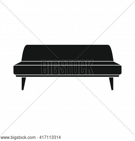 Vector Office Sofa Black Simple Icon Isolated