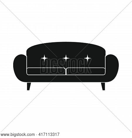 Vector Intage Sofa Black Simple Icon Isolated