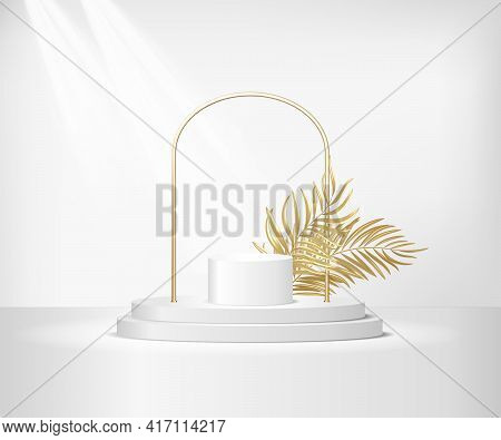 Round White Stage Podium Illuminated With Light. Golden Frame And Palm Leaf Decoration. Stage Vector