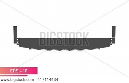A Woodcutters Hand Saw. For Working In The Forest. Solid Design. On A White Background. Tools For Th