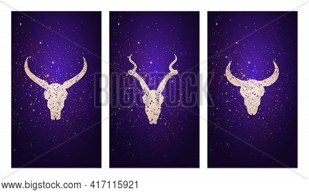 Vector Set Of Three Illustrations With Silhouettes Skulls Antelope, Buffalo And Bull Against The Bac