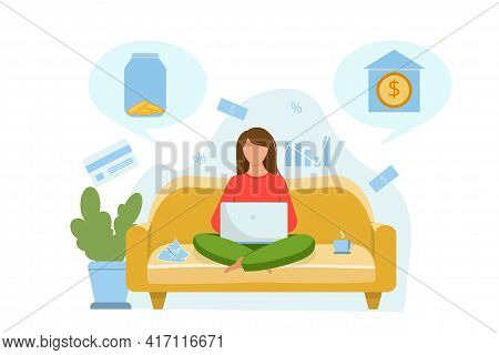 The Girl Is Sitting On The Couch And Thinking About Where To Invest The Money. Invest In A Bank Or S