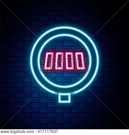 Glowing Neon Line Pedestrian Crosswalk Icon Isolated On Brick Wall Background. Traffic Rules And Saf
