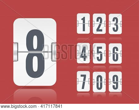 Vector White Flip Scoreboard Template With Reflected Number Floating On Different Height For Countdo