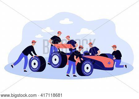 Maintenance Team Repairing Car On Pit Stop. Mechanics In Uniform Fixing Vehicle Flat Vector Illustra