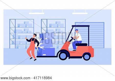 Factory Worker Getting Injured In Warehouse. Man On Forklift Truck Causing Accident Flat Vector Illu