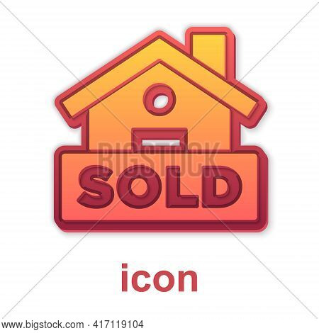 Gold Hanging Sign With Text Sold Icon Isolated On White Background. Sold Sticker. Sold Signboard. Ve