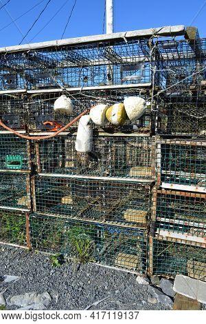 NOVA SCOTIA, CANADA - OCT 09, 2011: Lobster pots at Peggy's Cove, Nova Scotia, Canada