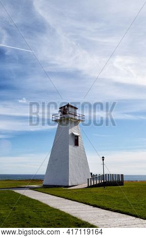 Point Borden Lighthouse in Marine Park on Prince Edward Island, Canada. The lighthouse has been out of service since the Confederation Bridge opened in 1997.