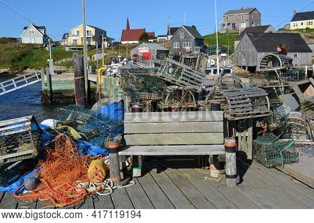 NOVA SCOTIA, CANADA - OCT 09, 2011: Lobster traps on the dock at Peggy's Cove.