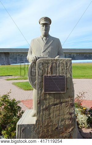PRINCE EDWARD ISLAND, CANADA - 10 OCT 2011: The Quartermaster statue, at the Confederation Bridge, honors the personnel who ensured safe passage for people and freight to and from the Island.
