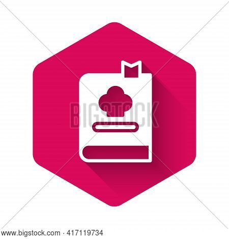 White Cookbook Icon Isolated With Long Shadow Background. Cooking Book Icon. Recipe Book. Fork And K