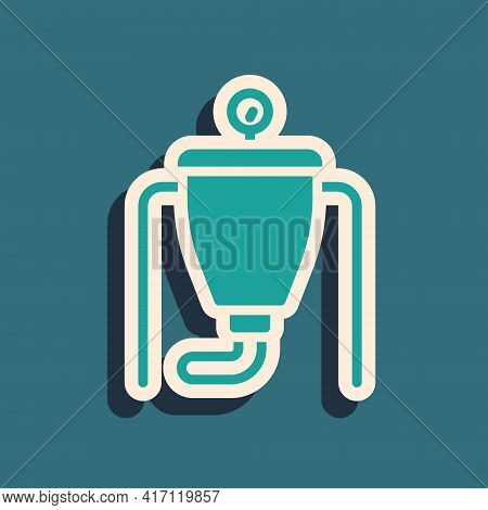 Green Beer Brewing Process Icon Isolated On Green Background. Long Shadow Style. Vector