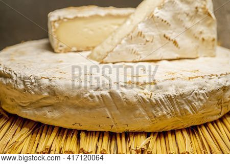 Cheese Camambert. Rustic Set On Black Backdrop. Healthy Fresh Nutrition. Healthy Food Background. Hi