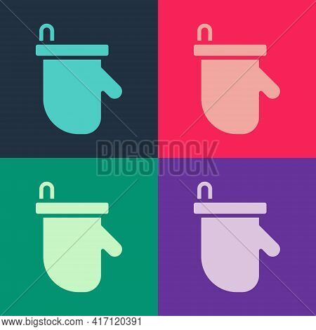 Pop Art Sauna Mittens Icon Isolated On Color Background. Mitten For Spa. Vector