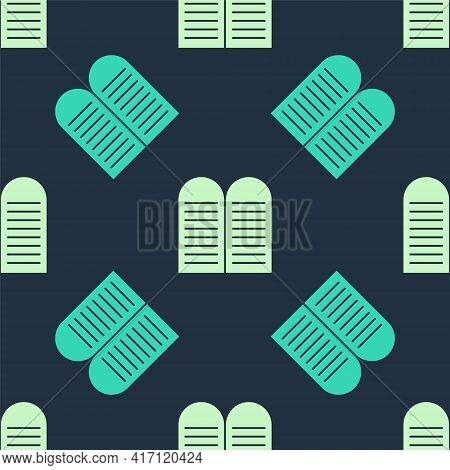 Green And Beige The Commandments Icon Isolated Seamless Pattern On Blue Background. Gods Law Concept