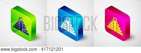 Isometric Chichen Itza In Mayan Icon Isolated On Grey Background. Ancient Mayan Pyramid. Famous Monu
