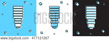 Set Led Light Bulb Icon Isolated On Blue And White, Black Background. Economical Led Illuminated Lig
