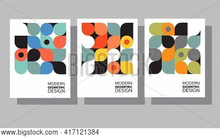 Retro Geometric Graphic Design Covers. Cool Bauhaus Style Compositions. For Social Media, Cards, Pos