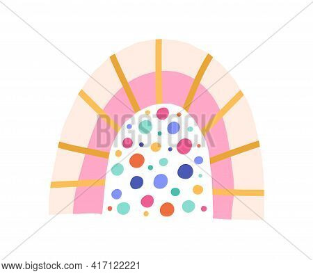Cute Funny Rainbow With Magic Colorful Rain Isolated On White Background. Sweet Childrens Drawing. C
