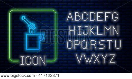 Glowing Neon Honey Dipper Stick With Dripping Honey Icon Isolated On Brick Wall Background. Honey La