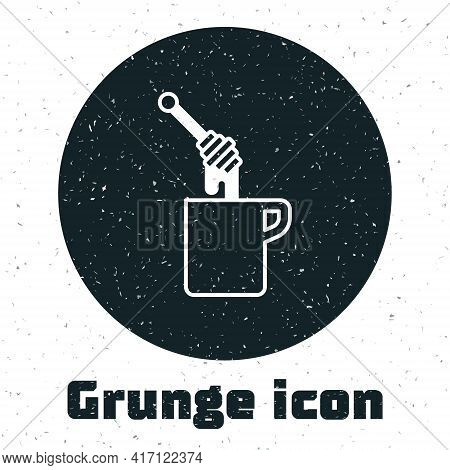 Grunge Honey Dipper Stick With Dripping Honey Icon Isolated On White Background. Honey Ladle. Monoch